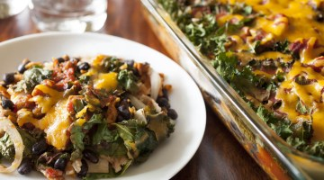 Easy Enchilada Casserole with Kale and Sweet Potatoes Dinner Recipe