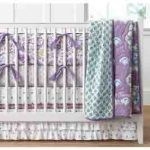Nursery Design, mint and lilac girls nursery decor with pretty crib bedding from pottery barn kids in shades of purple and turquoise, ideas and inspiration frostedeventscom