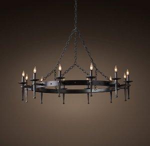 """Circa 1920 Spanish 48"""" round chandelier"""