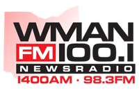 100.1 WMAN-FM Shelby 1400 WMAN Mansfield 98.3 WWMM News/Talk
