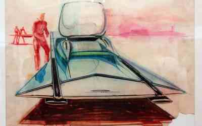 Syd Mead's Ford Gyron, c. 1960. Chalk, color pencil on paper