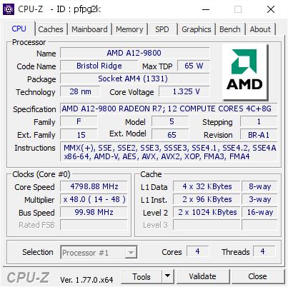A12-9800 OC 4.8GHz CPU-Z