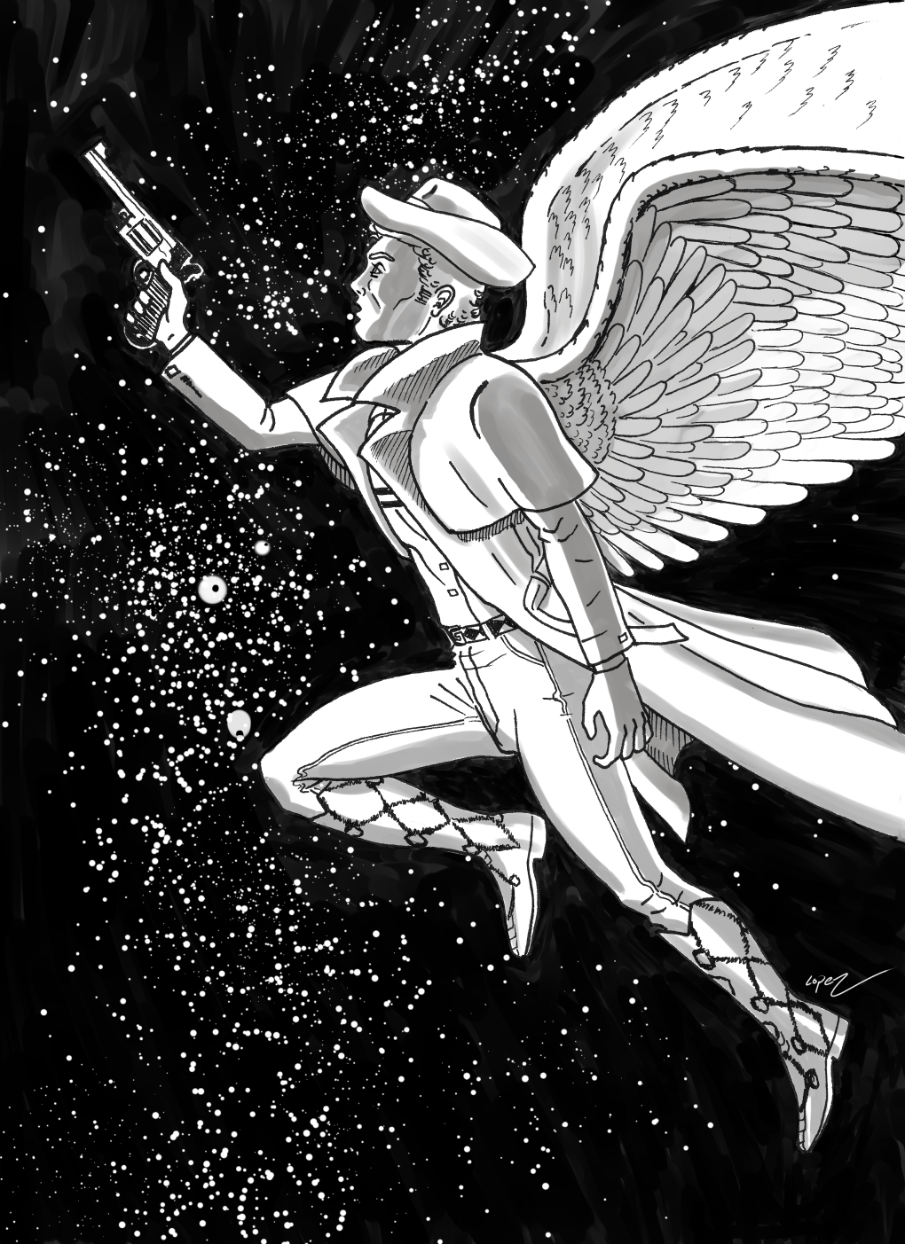 "Inktober Day 19 ""Flight"" Fabius the Lord's Gun"