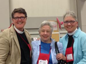 Katie Sherrod with old friends Cynthia Black of the Diocese of Newark and Susan Russell of the Diocese of Los Angeles