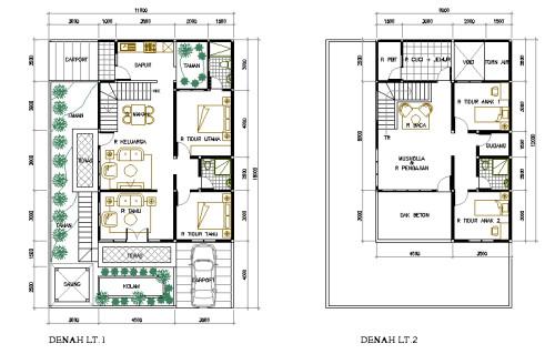 12 contoh denah rumah sederhana pilihan
