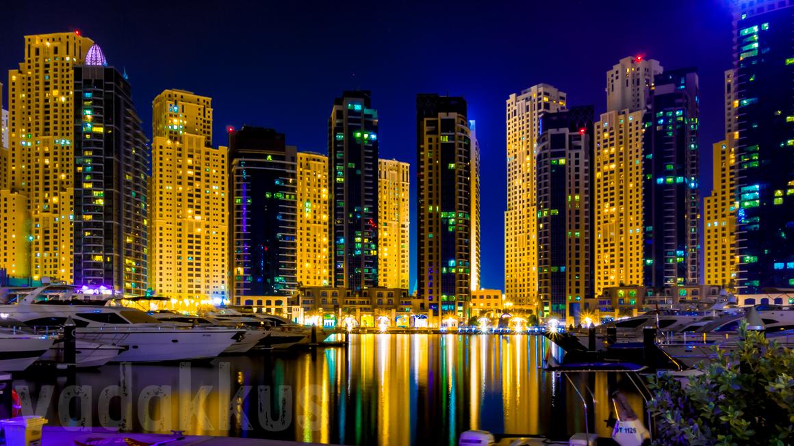The Night Skyline of the Dubai Marina and Jumeirah Beach Residences