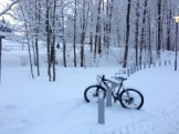 Bike covered with snow