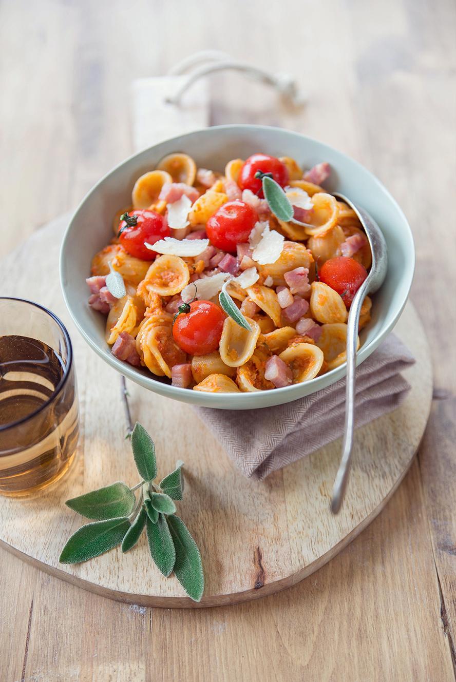 Orecchiette pancetta et tomates cerises rôties ©Fraise & Basilic