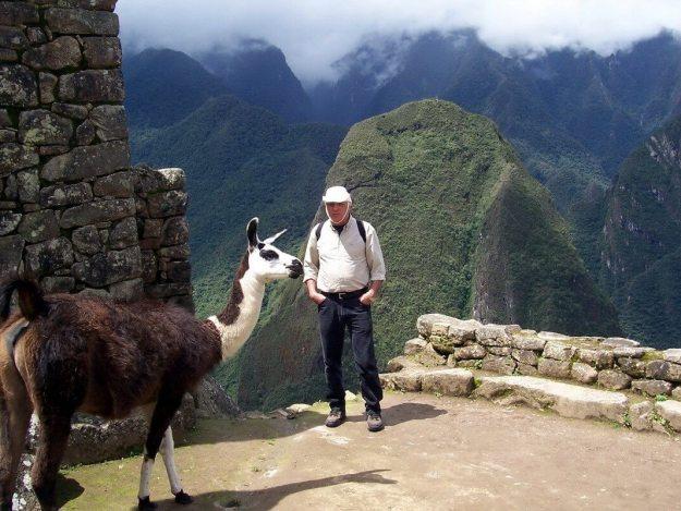 Bob beside a Llama at Machu Picchu, Urubamba Province, Peru