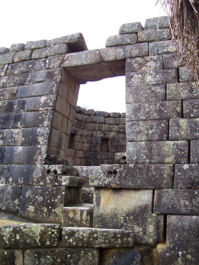 Trapezoidal window in the Tower of the Sun building at Machu Picchu, Urubamba Province, Peru
