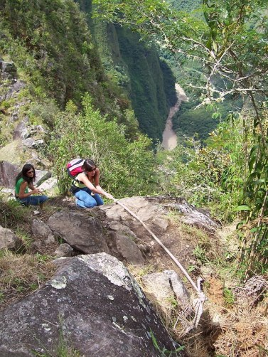 People climb up Huchuy Picchu mountain at Machu Picchu, Urubamba Province, Peru