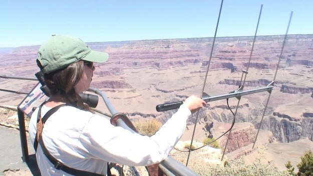 Gabby use audio listening device to hear condor sounds at hopi point - grand canyon