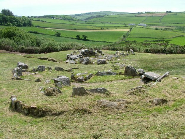 Prehistoric ruins at the Fulacht Fiadh near the Drombeg Stone Circle in County Cork, Ireland.
