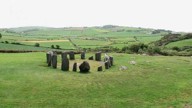 The Drombeg Stone Circle on a hillside in County Cork, Ireland.