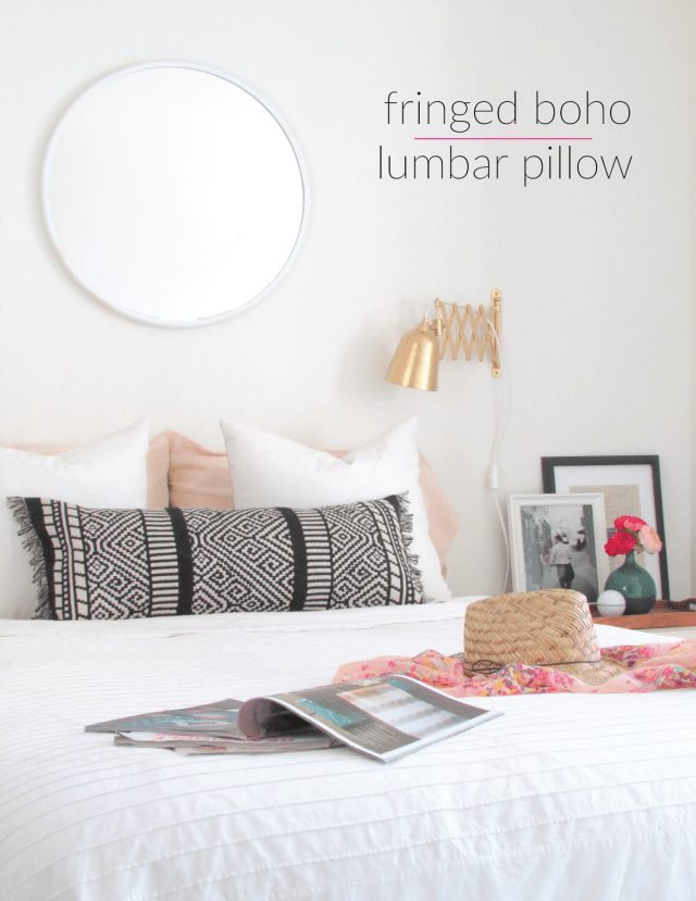 Fringed Boho Lumbar Pillow DIY Made from a Table Runner | Francois et Moi