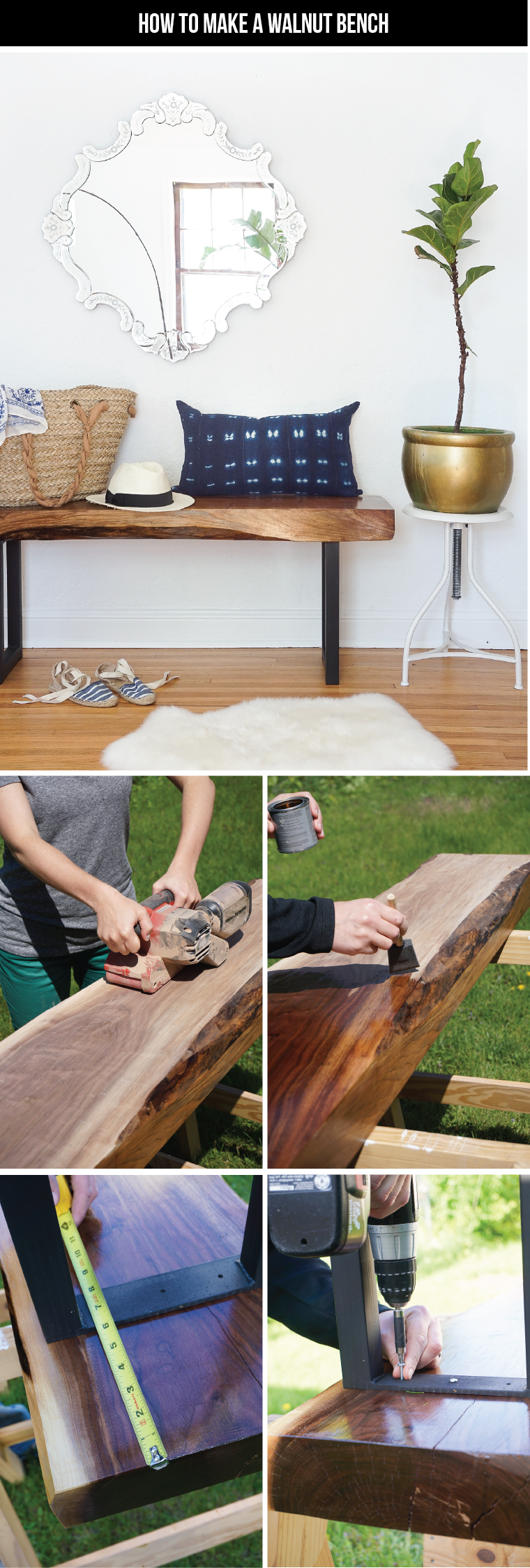 Learn how to make this *stunning* DIY live edge walnut bench. Click for the tutorial!