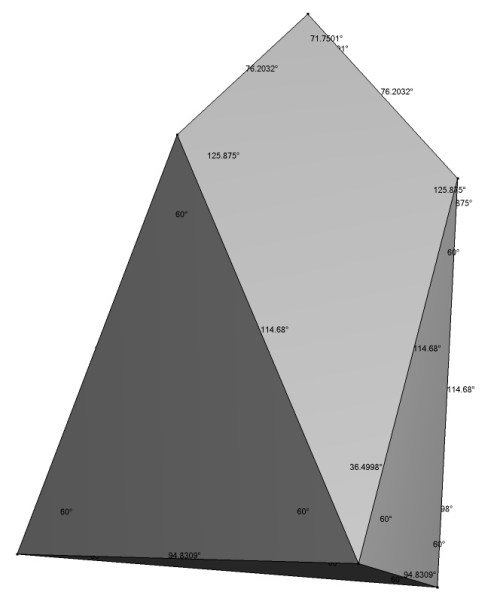 Chestahedron with dihedral face angles