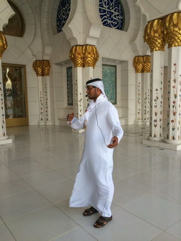 Docents at the Sheikh Zayed Grand Mosque are courteous and informative.