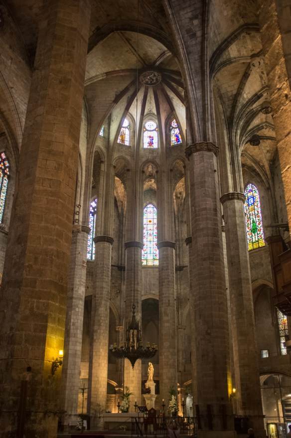The Basilica of Santa Maria del Mar sits near the harbor area.