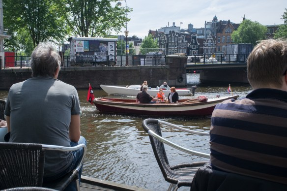 Canal side at Cafe de Jaren, Amsterdam.
