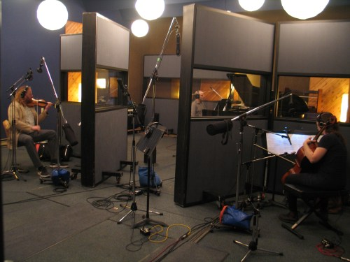 Edwin Huizinga, Greg Millar and Erika Nielsen recording Frank Horvat's I Wait for You