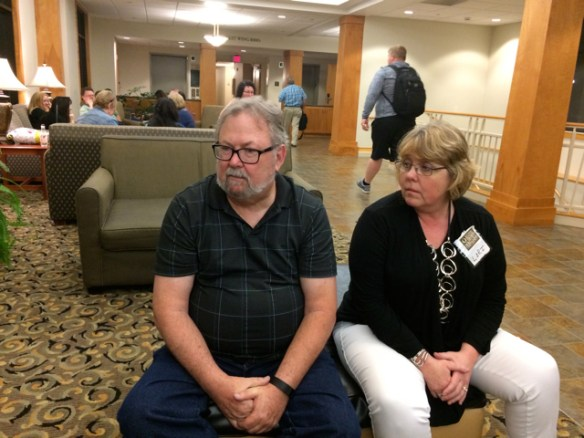 Lobby Time at BRMCWC with Alton Gansky and Lori Roeleveld.