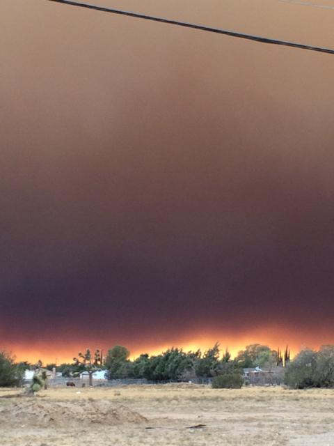Blue Cut Fire, Day 1. Around 5:20 pm, Main Street, Hesperia, CA.