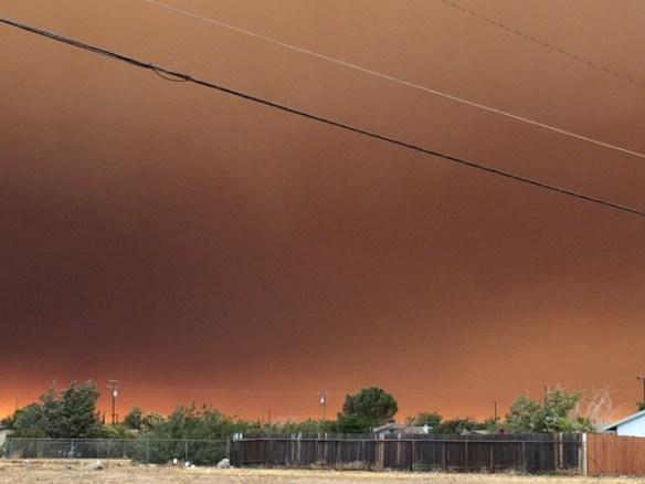 Blue Cut Fire, Day 1. Around 5:20 pm, Main Street and Locust, Hesperia, CA.
