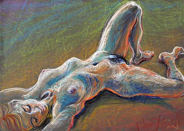 Reclining Izaskun, 2009, by Fred Hatt