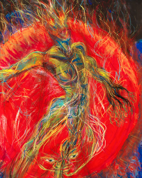 Deity (detail), 1989, painting by Fred Hatt