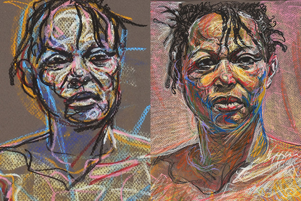 Sh About to Rise, 2013, by Fred Hatt, details of sketch and final version side-by-side