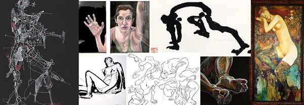 Sample works by visual artists participating in the ADaPT Festival Life Drawing Score, clockwise from left: Michael Alan, Jillian Bernstein, KIMCHIKIM, Masha Braslavsky, Fred Hatt, Susan M. Berkowitz, IURRO.