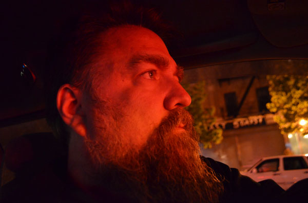 Self Portrait Driving, 2012, photo by Fred Hatt