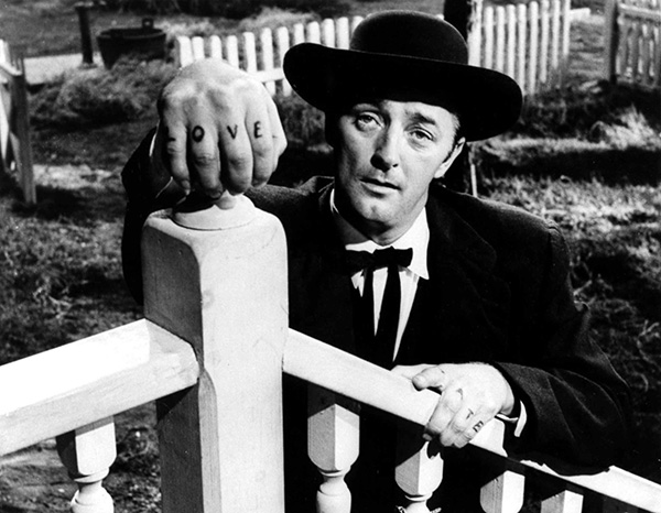 "Still from ""Night of the Hunter"", 1955 film directed by Charles Laughton, with Robert Mitchum"