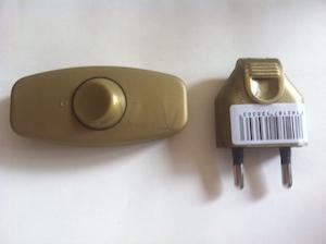 interrupteur et fiche 2 pôles couleur bronze
