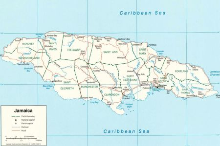 a blank map of jamaica with the parish 2