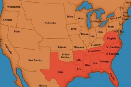 a map of the united states during the civil war