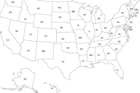 blank map of the united states with state names