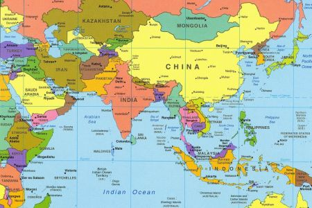 map of asian countries and capitals