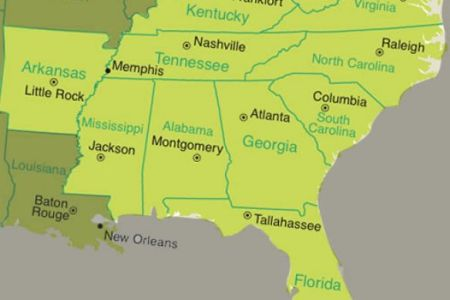 map of southeast states and 3