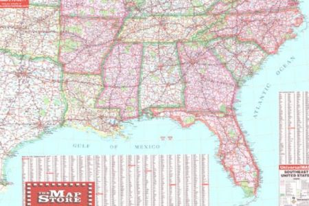 map of southeast usa with 2