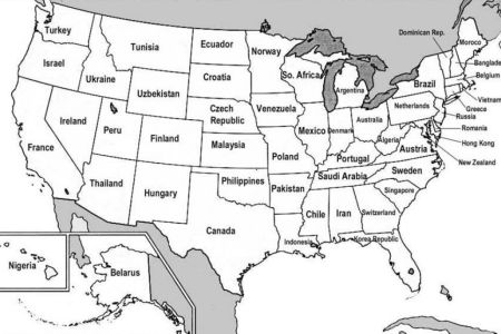 map of the united states with states and capitals labeled