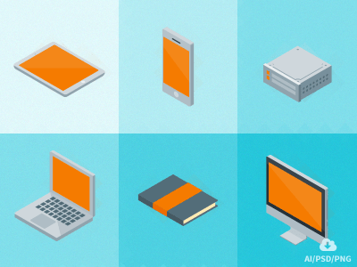 Free Set of Isometric Material Icons