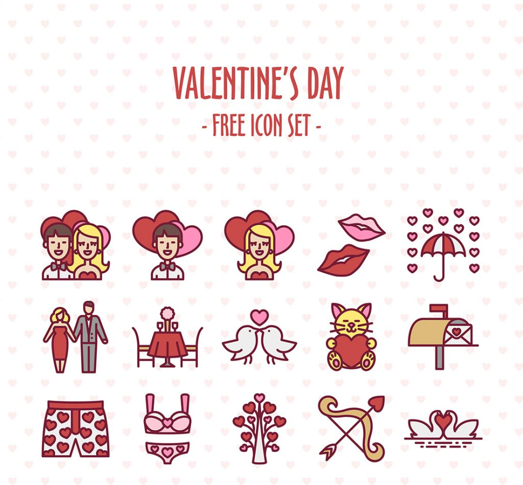 Valentine's Day Free Icon Set
