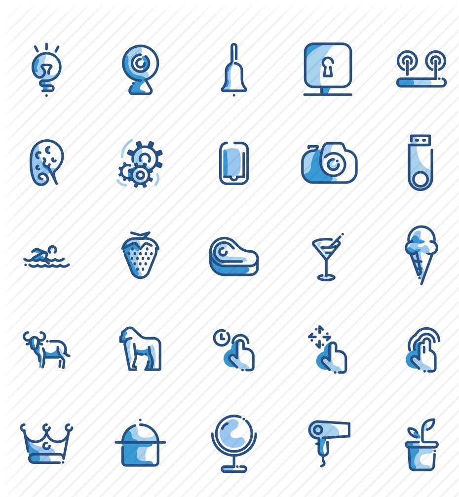 100 Free Duo Tone Icons Set