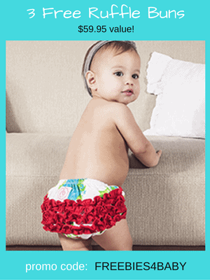 3 Free Pairs of Ruffle Buns - $59.95 value! Use code: FREEBIES4BABY at checkout.