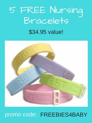 5 Free Nursing Bracelets - $34.95 value! Use code: FREEBIES4BABY at checkout.