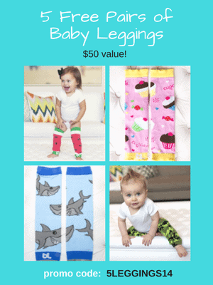 5 Free Pairs of Baby Leggings - $50 value! Use code: 5LEGGINGS14 at checkout.