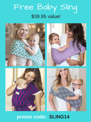 Free Baby Sling - $39.95 value! Use code: SLING14 at checkout.