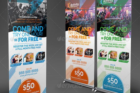 fitness gym roll up banners showcase